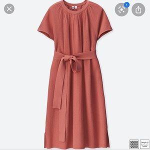 UNICLO U Cotton Linen Flared Short Sleeve Dress